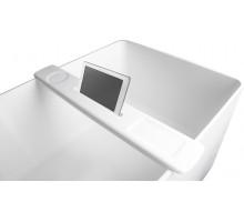 Полка на ванну 87*11,5*2,4см накладная каменная Solid surface, белый